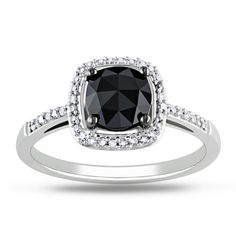 @Overstock - Cushion-cut black and round white diamond ring14-karat white gold jewelryClick here for ring sizing guidehttp://www.overstock.com/Jewelry-Watches/New-Miadora-14k-White-Gold-1-1-8ct-TDW-Black-and-White-Diamond-Ring-G-H-I1-I2/7348145/product.html?CID=214117 $431.99