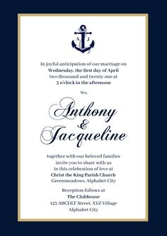 Customize this design with your video, photos and text. Easy to use online tools with thousands of stock photos, clipart and effects. Free downloads, great for printing and sharing online. A4. Tags: nautical, nautical wedding, nautical wedding invitation, wedding, wedding invitation, Wedding , Wedding