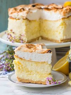 triple lemon cheesecake with torched meringue topping