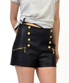 Top Shop High Waisted Leather Shorts With Eight Golden Buttons And Two Zippers
