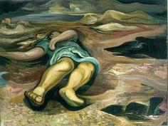 """David Alfaro Siqueiros """"Desfallecimiento"""" 1944 Piroxilina sobre cartón, dimensiones 48 x 63 cm. LA COLECCIÓN DEL MUSEO SOUMAYA"""