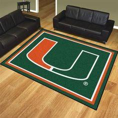 Nylon University of Miami Hurricanes 8 x 10 Area Rug Carpet