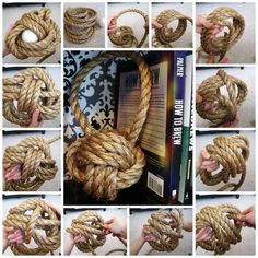 Rope Knot Follow these step-by-step directions (and good luck) to create a big rope knot that makes for a great textured bookend. Use a tennis ball filled with rocks as the center for extra weight.