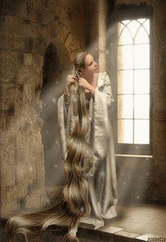 """Rapunzel"" (Do not know the artist. Story Inspiration, Character Inspiration, Fantasy World, Fantasy Art, Fantasy Paintings, Elfen Fantasy, Fairytale Art, Illustration, Faeries"