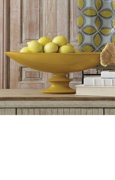 Shop for Global Views Elliptical Compote-Solar, and other Accessories at Hickory Furniture Mart in Hickory, NC. Yellow Home Accessories, Yellow Home Decor, Decorative Accessories, Yellow Bowls, Yellow Vase, Yellow Living Room Furniture, Chandeliers, Jars For Sale, Ceramic Vase