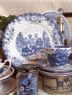 #Blue & #White #china and jar of blue buttons