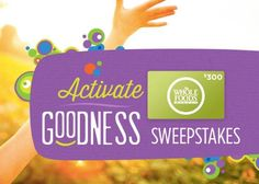 Enter to win a $300 Whole Foods Gift Card from Good Karma Foods! ARV: $300 [US Only, 18+, Single Entry, Ends March 31, 2016] Mar 7, 2016Amy Share the love!