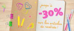 [ Promos ] Les créatives aussi font leur rentrée ! Notebooks, stylos, stickers, feuilles adhésives, attaches, punaises et trombones vitaminés, étiqueteuses...jusqu'à -30% ! Jetez un oeil par ici >>> http://www.perlesandco.com/specials.php