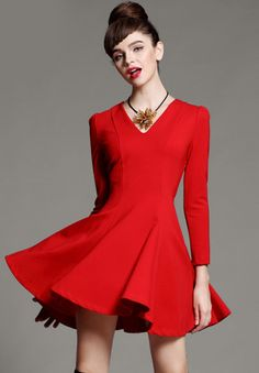 Shop Red V Neck Long Sleeve Ruffle Slim Dress online. Sheinside offers Red V Neck Long Sleeve Ruffle Slim Dress & more to fit your fashionable needs. Free Shipping Worldwide!