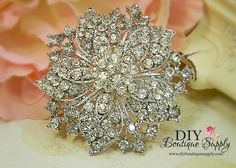 Silver Crystal Brooch  Wedding Brooch   by DIYBoutiqueSupply, $5.95