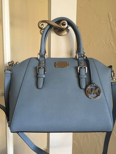 Michael Kors Ciara Large Top Zip Satchel Powder Blue Saffiano Leather | eBay