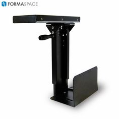 CPU Holder with Swivel Extension | FORMASPACE | Save workspace with a horizontally mounted CPU holder located under the work surface. The adjustable width stretches to fit a variety of different CPU sizes and swivels left-to-right for easy accessibility.