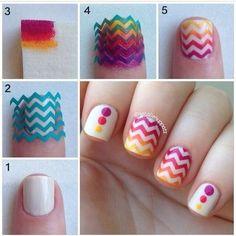 Uñas -degradado en zigzag nails
