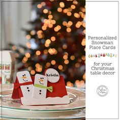It's Written on the Wall: Something Special for your Christmas Table - Merry Snowman Personalized Place Card Holders-How Festive and Fun! Christmas Name Tags, Christmas Place Cards, Christmas Dishes, Kids Christmas, Christmas Table Decorations, Holiday Decor, Christmas Decor, Personalized Tags, Square