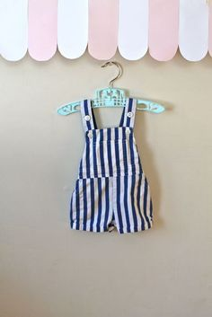 vintage baby's overalls POPSICAL striped overall shorts by MsTips, $14.00