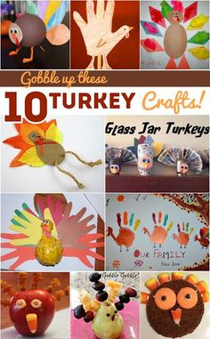 Ten turkey crafts for kids to make for Thanksgiving. Turkey crafts kids will gobble up they& so cute! Perfect for the holiday season. Pumpkin Crafts, Fall Crafts, Holiday Crafts, Holiday Fun, Christmas Holidays, Holiday Parties, Thanksgiving Activities For Kids, Autumn Activities, Craft Activities