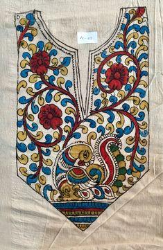 Saree Painting, Kalamkari Painting, Dress Painting, Fabric Painting, Fabric Art, Hand Painted Dress, Hand Painted Fabric, Painted Clothes, Indian Traditional Paintings