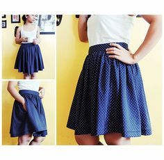 Easy DIY gathered full skirt with pocket tutorial. Cute, simple style!