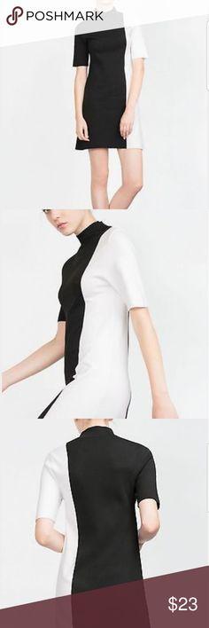 Two tone zara dress Two tone zara knit dress...nwot.. never worn.. has some spots on left sleeve... Zara Dresses