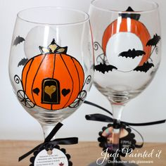 Our Halloween wedding wine glasses have a Cinderella style pumpkin with the moon and bats on the opposite side. Personalized with gold text on the