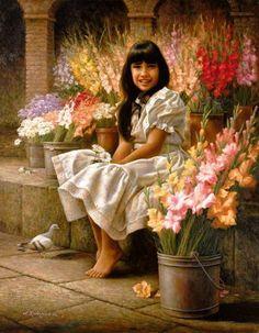 Alfredo Rodriguez (1954, American) Una Flor entre las Flores