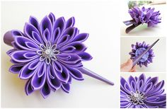 Light purple satin kanzashi chrysanthemum on a large hair clip - Crizantemă mare mov deschis pe clamă mare de păr