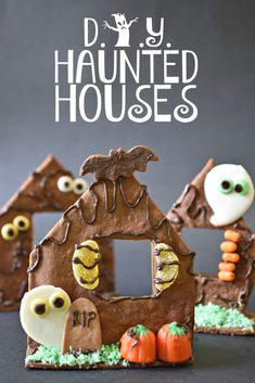 DIY Haunted Houses made with a gluten free vegan cookie base