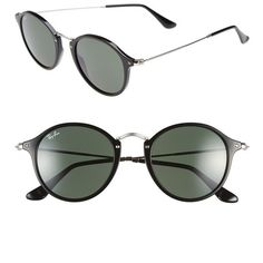 Ray-Ban 'Icon' 49mm Sunglasses ($165) ❤ liked on Polyvore featuring accessories, eyewear, sunglasses, black, ray-ban, retro sunglasses, retro round sunglasses, black sunglasses y round glasses