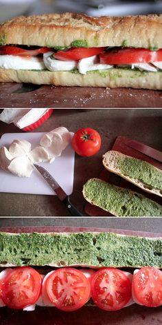 Delicioso bocata italiano a base de mozzarella, tomate y salsa pesto. Se puede rebajar el sabor de la salsa o poner menos cantidad si crees que puede quedar un poco fuerte para tu peque.  #Bocata #RecetaSaludable #Mozzarella #Tomate #SalsaPesto