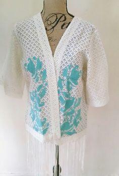 Crazy Train Steel Magnolia Southwestern Cream Turquoise Kimono Vest S-XL SALE!! #CrazyTrainClothingCo #Top #Casual
