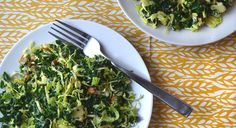 Shredded Kale and Brussels Sprout Salad (healthy: almonds, a bit of parmesan, and fresh Dijon vinaigrette)