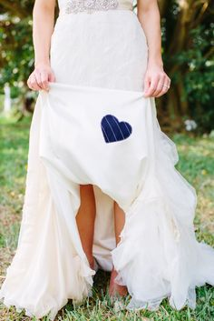 A cute idea for a meaningful 'something blue' replace fabric behind pocket of blue shirt with white heart return with note about being close to his heart Diy Wedding Dress, Blue Wedding Dresses, Wedding Shoes, Wedding Veils, Wedding Attire, Boho Wedding, Wedding Hair, Bridal Hair, Blue Bridal Shoes