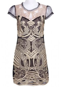 Black and Gold Silk Short Sleeve A-line Dress pictures