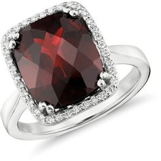Blue Nile Garnet and Diamond Halo Cushion-Cut Ring in 14k White Gold by None, via Polyvore
