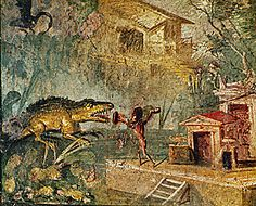 mural from Pompeii (with giant decorative crocodile)