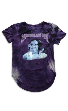 Rico From Belly Vintage Tie Dye Curved Hem Scallop Purple Tee