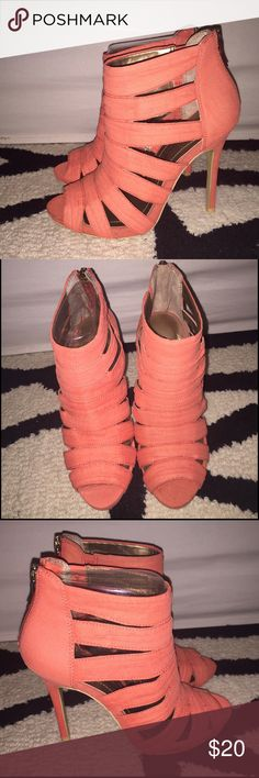 BCBG Jubilees Cutout Coral Heel- Size 6 BCBG Jubilees Cutout Coral Heel- Size 6. Stunning cutout heel in a Soft Coral color with back zip. Brand New. Never worn. BCBGeneration Shoes Sandals