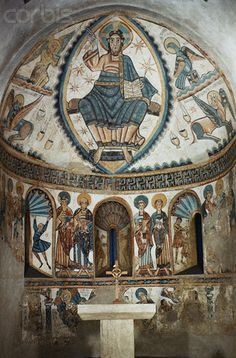 Catalan Romanesque Fresco Depicting Christ in Majesty with Symbols of the Four Evangelists