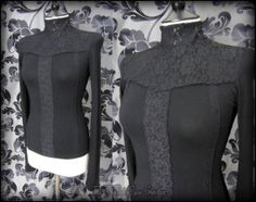 Gothic Victorian Black Rose Lace High Neck Top 8 10 S Romantic Vintage Goth | THE WILTED ROSE GARDEN