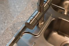 Modern Oak - Sheffield Sustainable Kitchen stainless steel sink and boiling water tap with recycled glass worktop