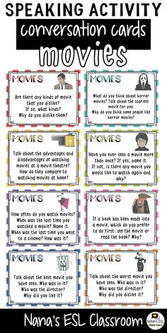 Ignite conversation in your classroom with these engaging conversation starter cards about movies, stars, going to the cinema and Hollywood. A total of 40 cards with one or more questions per card. English Lessons, Learn English, English Speaking Skills, French Lessons, Spanish Lessons, Learn French, Conversation Cards, Conversation Starters, Conversation Starter Questions
