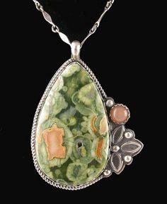 Pendant | Laura Pacino.  Rainforest Jasper, Peach Moonstone and silver