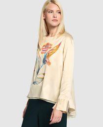 35bde282e1 Blusa de mujer Zendra El Corte Ingles en crudo con flor El Corte Ingle