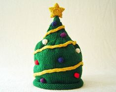 Knit Hat Knitting Pattern - Christmas Tree Hat Pattern - the NICK Hat (Newborn Baby Toddler Child & Adult sizes incl'd)