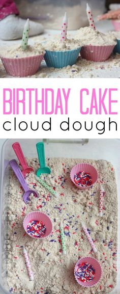Birthday Cake Scented Cloud Dough!  Such a fun sensory experience, especially for little ones getting ready to celebrate their birthday!