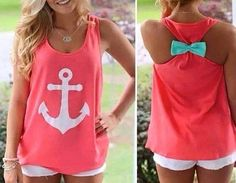 Tank Top, Womens Tank Tops, Anchor Tank Top with Bow, Womens Tops, Trendy Tops for Women, Summer Tops