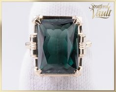 Vintage ~ Ladies Green Spinel Right Hand Ring ~ Yellow Gold Setting ~ ct Emerald Cut Synthetic Green Spinel ~ by StratfordVault on Etsy Right Hand Rings, Beautiful Gift Boxes, Emerald Cut, Vintage Ladies, Lab, Gems, Jewels, Yellow, Metal