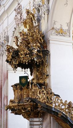 Amorbach, Abteikirche, Kanzel (Abbey Church, pulpit)