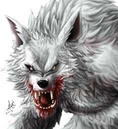 Alpha Werewolf  detail by Alicemonstrinho.deviantart.com on @DeviantArt - there's no doubt that your this Werewolves next Evening Meal!  I especially like the contrast between the white, grey and red!