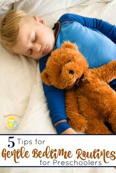 Preschoolers need sleep and a regular bedtime routine. Here are 5 tips for gentle bedtime routines for preschoolers. | http://homeschoolpreschool.net